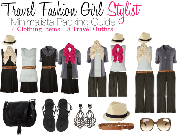 Minimalist travel packing how to mix and match 4 pieces of clothes